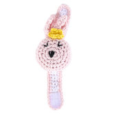 Stephan Baby, Bunny Rattle Crochet Wristlet, Cotton & Polyester, Pink, 5 3/4 x 2 x 1 1/2 inches
