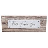 Faithworks, 1 Corinthians 13:13 Faith Hope Love Tabletop Plaque, 8 1/2 x 3 1/4 inches
