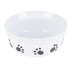 Thirsty Paw Print Dog Bowl, Ceramic, Black & White, 6 x 2 1/2 inches