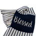 Blessed Tea Towel, Cotton, Blue and White Stripes, 26 x 16 inches