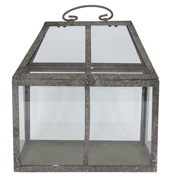 Terrarium Candle Holder, Metal & Glass, Rustic Silver, 7 1/2 x 11 x 11 1/2 inches