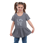 NOTW, Love Yourself, Kid's Short Sleeve Peplum Tee, Heather Gray, XS-L