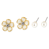 Mercy Adorned, Proverbs 1:7 Flower and Pearl Post Earring Set, Zinc Alloy, Gold, Set of 2