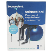 Bouncyband, Balance Ball Chair for Kids and Adults 5 to 5-Ft 6-inches tall, Medium, Blue, 55cm Dia.