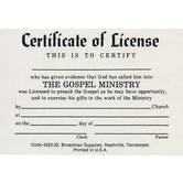 License for Minister, Billfold Size Certificate