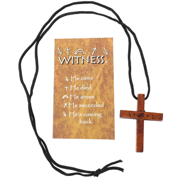 Gifts of Faith, Witness Cross Pendant Necklace, Wood, Brown, 1 3/4 x 35 inches