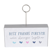 Best Friends Forever Wood Block Stand with Metal Photo Clip, White, Navy, and Grey, 5 x 2.50 x 1 Inch