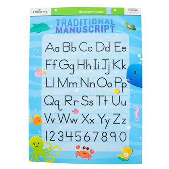 Renewing Minds, Traditional Manuscript Alphabet Chart, Sea Creatures, 17 x 22 Inches, 1 Each