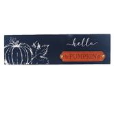 Hello Pumpkin Tabletop Plaque, Blue & White, MDF, 14 x 2 x 4 inches