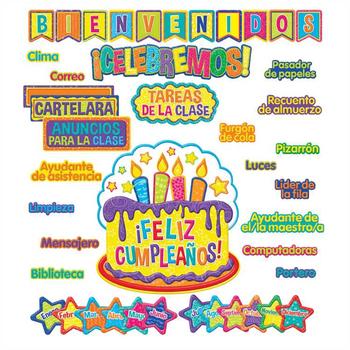 Eureka, Color My World Spanish Welcome Class Organization Bulletin Board Set, Grades PreK-5