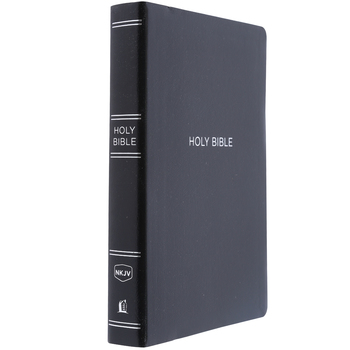 NKJV Giant Print Center-Column Reference Bible, Leatherlike, Black