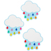 Schoolgirl Style, Hello Sunshine Cloud with Raindrops Cut-Outs, 4.70 x 5 Inches, 36 Pieces
