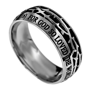 Spirit & Truth, Crown of Thorns, John 3:16, Men's Ring, Stainless Steel