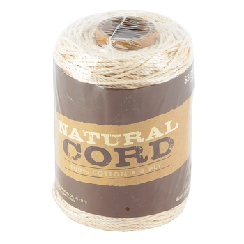 Natural Cord Cotton Rope, 3-Ply, 1.5mm, 400 Feet