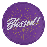 Swanson, Blessed Folding Hand Fan, Purple, 10 inches with 3 1/2 x 3 3/4 inch Case