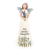 Blossom Bucket, My Lovely Daughter Angel Figurine, Resin, Cream, 5 x 1 3/4 inches