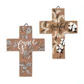 Faithworks, Spiritual Harvest Mini Easel Cross, Brown, Black, and White, 4 x 3 inches