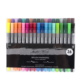 Twin Tip Brush Markers, Brush and Thin Tips, Assorted Colors, 1 Each of 36 Colors