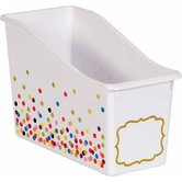Teacher Created Resources, Confetti Book Bin, Multi-Colored Polka Dots, 11.38 x 5.50 x 7.5 Inches