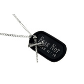 Spirit & Truth, Isaiah 41:10 Three Nail Cross and Tag Necklace, Stainless Steel, 20 inches