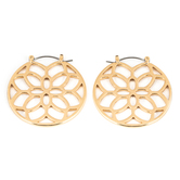 His Truly, Circle with Floral Cutout Dangle Earrings, Zinc Alloy, Gold