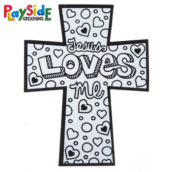 Playside Creations, Fuzzy Art Cross-Jesus Loves Me, 5 x 6.5 Inches, Black and White, 24 Count