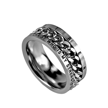 Spirit & Truth, Philippians 4:13, His Strength, Inset Chain, Men's Ring, Stainless Steel, Sizes 8-12