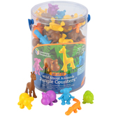 Learning Resources, Wild About Animals Jungle Counters, Set of 72, Multi-Colored, 2 to 2.50 Inches, Ages 3-6