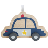 Police Car with Wheels Table Decor, Wood, Blue, 1 9/16 x 7 7/8 x 4 3/4 Inches