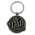 Christian Art Gifts, Proverbs 14:26, My Dad My Hero Keyring in Tin, Metal, Silver and Black, 3 x 2 inches