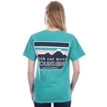 Beautifully Blessed, Matthew 17:20, Move Mountains, Women's Short Sleeve T-Shirt, Seafoam, S-2XL