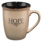 Christian Art Gifts, Hebrews 6:19 Hope Coffee Mug, Stoneware, Cream and Black, 14 ounces