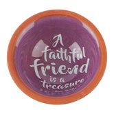 Dicksons, Proverbs 18:24 Faithful Friend Bowl, Terra Cotta, Purple and Orange, 2 3/4 inches