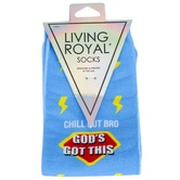 Living Royal, Chill Out Bro God's Got This, Men's Crew Socks, Light Blue, 1 Pair, One Size Fits Most