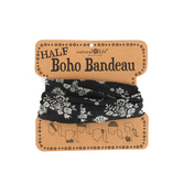 Natural Life, Half Boho Bandeau, Black with Cream Floral