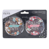 Renewing Faith, Follow and Walk Car Coaster Set, Absorbent Sandstone, 2 1/2 inches