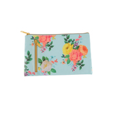the Paper Studio, Petals + Blooms Floral Accessory Bag, Coated Fabric, 9 x 5 3/4 inches
