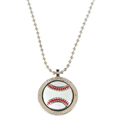 Soul Anchor, Philippians 4:13 Baseball Necklace, Zinc Alloy and Epoxy, Silver, 22 inches