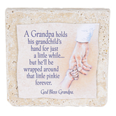 Product Concept Manufacturing, God Bless Grandpa Tabletop Tile, Resin, Stone, 4 x 4 x 1/2 inches