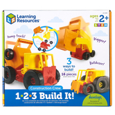 Learning Resources, 1-2-3 Build It Construction Crew, Multi-Colored, Ages 2 Years and Older, 16 Pieces