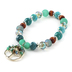 Radiant Sol, Tree of Life Beaded Stretch Bracelet, Glass and Zinc Alloy, Silver and Blue