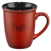 Christian Art Gifts, 1 Peter 1:21 Faith Coffee Mug, Stoneware, Paprika Red and Black, 14 ounces