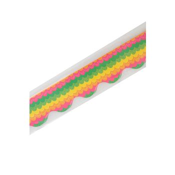 Renewing Minds, Scalloped Border Trim, 38 Feet, Tropical, Bright Multi-Colored