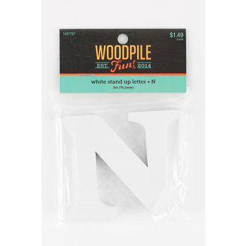 Woodpile Fun, Stand Alone Wood Letter - N, 3 inches, White