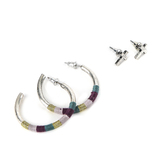 Radiant Sol, Silver Cross and Hoop Earring Set, Brass and Cotton, Assorted Colors, 2 Pairs