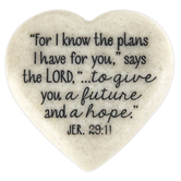 Jeremiah 29:11 Heart Stone, White, 2 1/8 x 2 x 1/2 inches