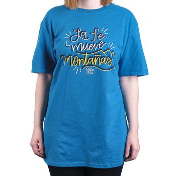 Matthew 17:20 Move Mountains (Spanish), Women's Short Sleeve T-shirt, Antique Sapphire, S-2XL