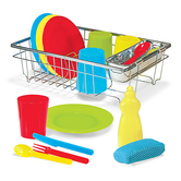 Melissa & Doug, Wash & Dry Dish Set, Ages 3 to 6 Years Old, 24 Pieces