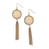 Radiant Sol, Round Frame and Tassel with Crochet Center Dangle Earrings, Polyester and Iron, Gold and Cream