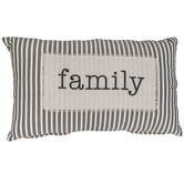Family Black and Beige Ticking Striped Lumbar Pillow, Cotton, 26 x 16 Inches